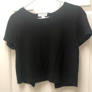 Black crop top with cutout back